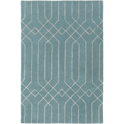 Rainsburg Hand-Tufted Teal/Taupe Area Rug Rug size: 33 x 53