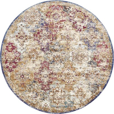 Lynda Beige/Blue Area Rug Rug Size: Round 8 x 8