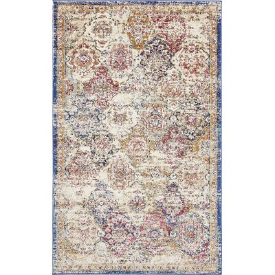 Lynda Beige/Blue Area Rug Rug Size: Rectangle 33 x 53