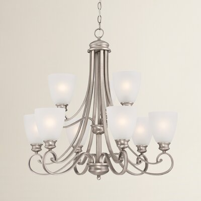 Elinor 9-Light Shaded Chandelier Color: Satin Pewter