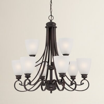Burbank 9-Light Shaded Chandelier Finish: Espresso