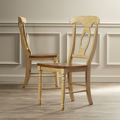 Courtdale Solid Wood Dining Chair (Set of 2) Finish: Almond / Wheat