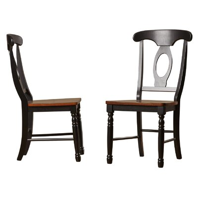 Courtdale Solid Wood Dining Chair (Set of 2) Finish: Almond / Ebony