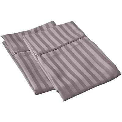Sheatown Microfiber Stripe Pillowcase Color: Silver, Size: King