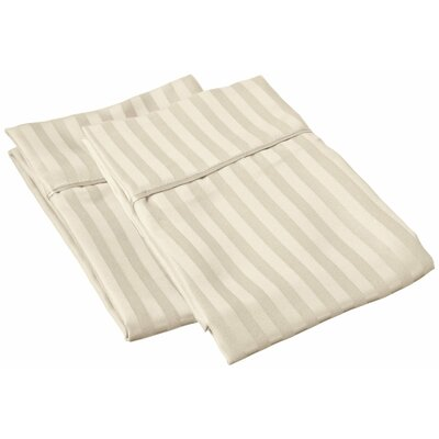 Sheatown Microfiber Stripe Pillowcase Size: King, Color: Tan
