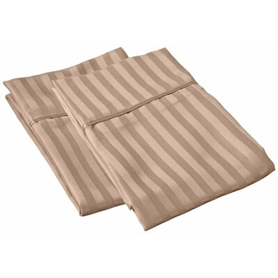 Sheatown Microfiber Stripe Pillowcase Size: Standard, Color: Taupe