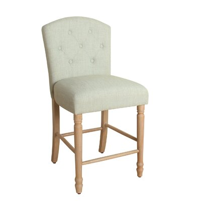 Rankin 24 Bar Stool Finish: White Washed, Upholstery Color: Pale Blue