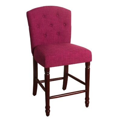 Rankin 24 Bar Stool Finish: Dark Walnut, Upholstery Color: Azelea Pink