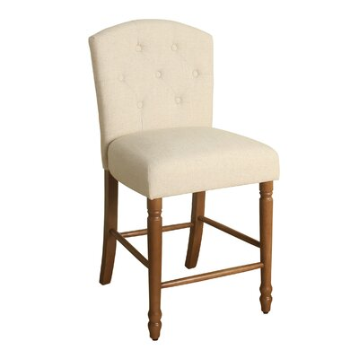Rankin 24 Bar Stool Finish: Honey Oak, Upholstery Color: Natural Linen