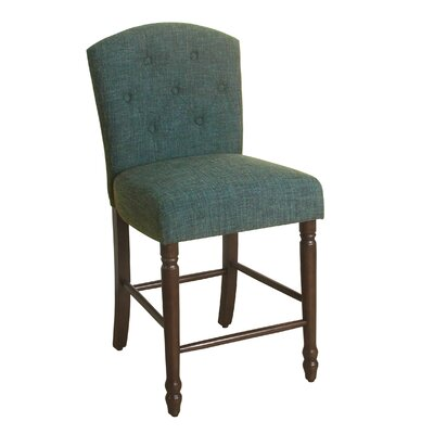 Rankin 24 Bar Stool Finish: Dark Walnut, Upholstery Color: Deep Teal