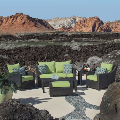 Northridge 6 Piece Deep Seating Group with Cushions Fabric: Gingko Green