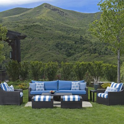 Northridge 8 Piece Deep Seating Group with Cushions Fabric: Blue
