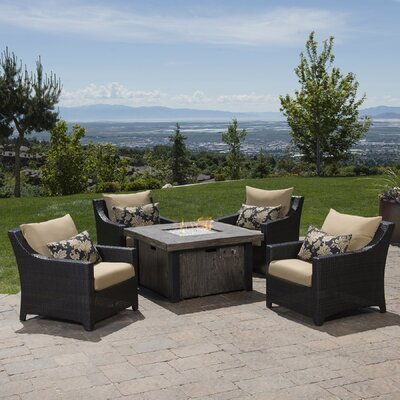 Northridge 5 Piece Fire Pit Set with Cushions Fabric: Delano Beige