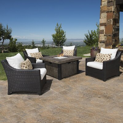 Northridge 5 Piece Fire Pit Set with Cushions Fabric: Moroccan Cream