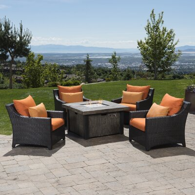Northridge 5 Piece Fire Pit Set with Cushions Fabric: Tikka Orange