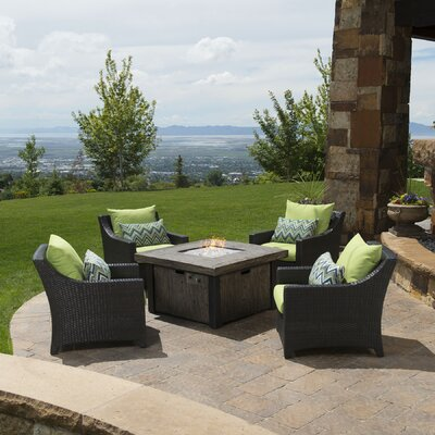 Northridge 5 Piece Fire Pit Set with Cushions Fabric: Ginkgo Green