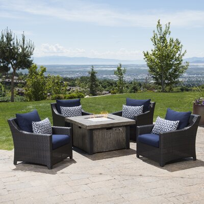 Northridge 5 Piece Fire Pit Set with Cushions Fabric: Navy Blue