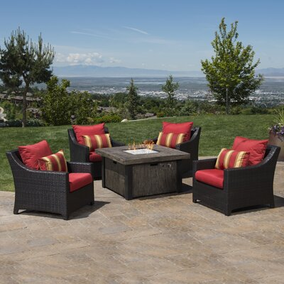 Northridge 5 Piece Fire Pit Set with Cushions Fabric: Sunset Red