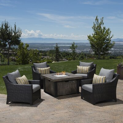 Northridge 5 Piece Fire Pit Set with Cushions Fabric: Charcoal Gray