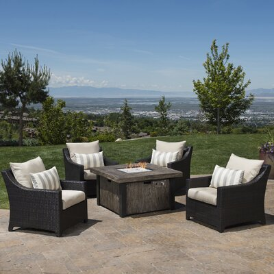 Northridge 5 Piece Fire Pit Set with Cushions Fabric: Slate Gray