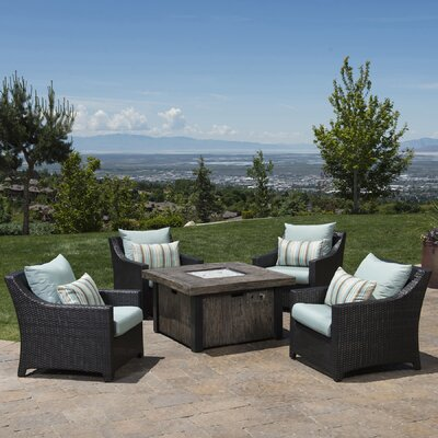 Northridge 5 Piece Fire Pit Set with Cushions Fabric: Bliss Blue
