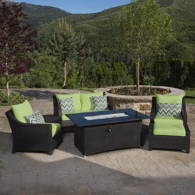 Northridge 5 Piece Fire Pit Set with Cushion Fabric: Ginkgo Green