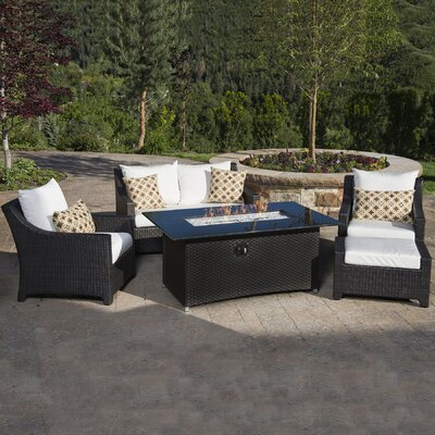 Northridge 5 Piece Fire Pit Set with Cushion Fabric: Moroccan Cream