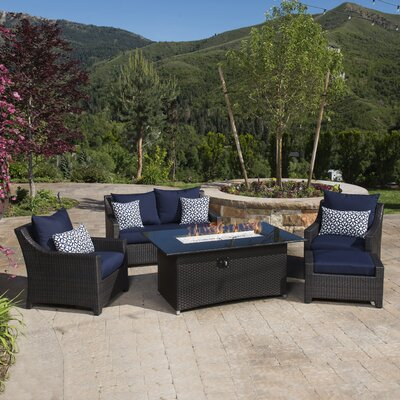 Northridge 5 Piece Fire Pit Set with Cushion Fabric: Navy Blue