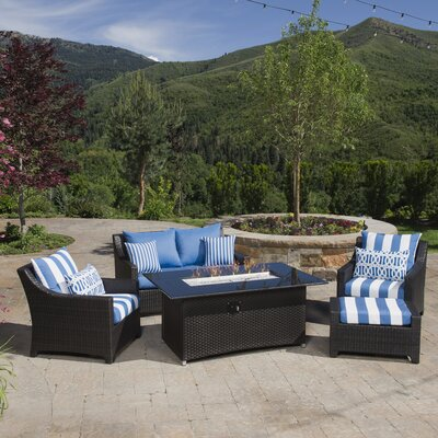 Northridge 5 Piece Fire Pit Set with Cushion Fabric: Regatta Blue