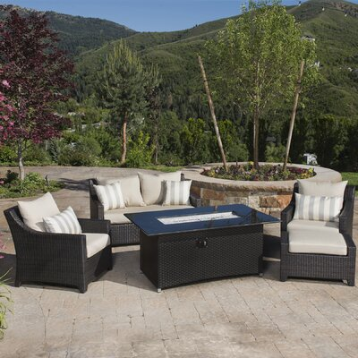 Northridge 5 Piece Fire Pit Set with Cushion Fabric: Slate Gray