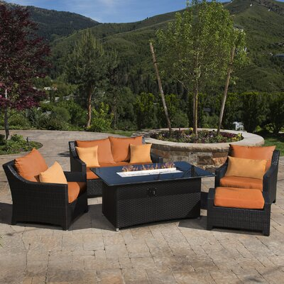 Northridge 5 Piece Fire Pit Set with Cushion Fabric: Tikka Orange