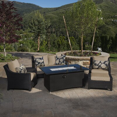 Northridge 5 Piece Fire Pit Set with Cushion Fabric: Delano Beige