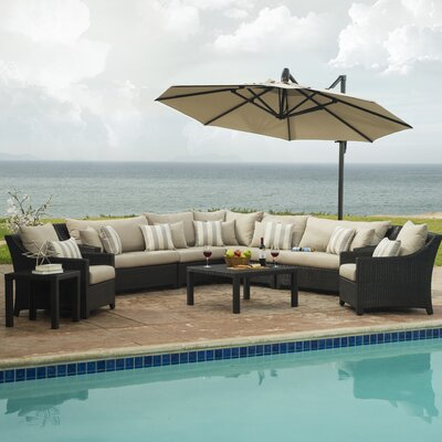 Three Posts Northridge 9 Piece Sectional Set with Cushions Fabric: Slate Grey