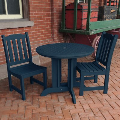 Amelia 3 Piece Dining Set Finish: Nantucket Blue