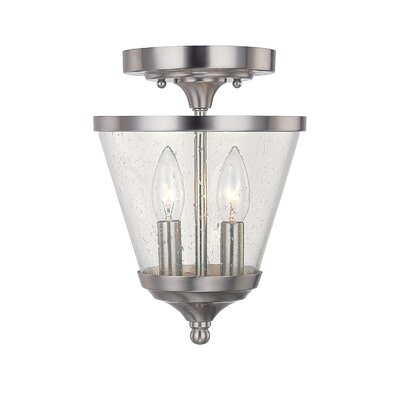 Brickyard Brushed Nickel 2-Light Semi Flush Mount