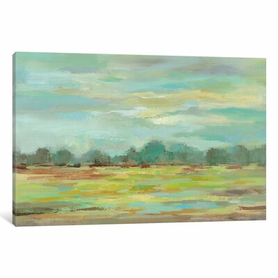 Teal Forest Painting Print on Wrapped Canvas