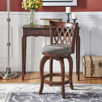 Heartwood 24 Swivel Bar Stool Upholstery: Grey