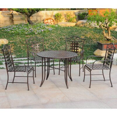 Snowberry 5 Piece Outdoor Dining Set Color: Bronze