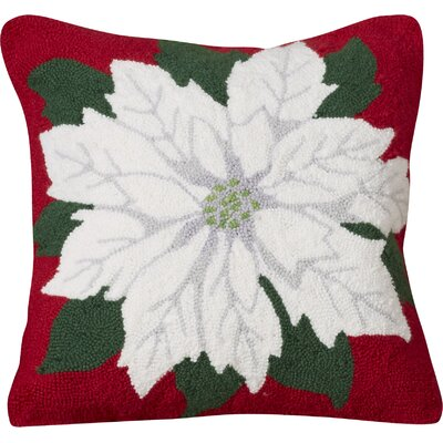 Poinsettia Hooked Cotton Throw Pillow