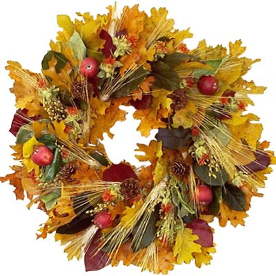 Faux Apple & Wheat Wreath