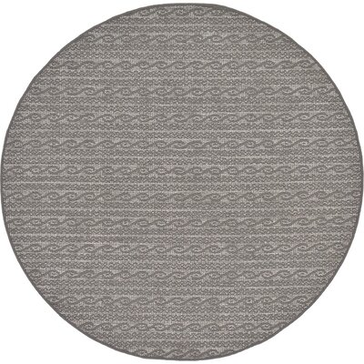 Vincent Gray Outdoor Area Rug Rug Size: Round 6'