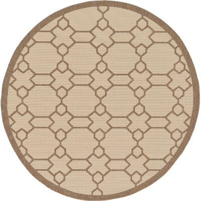 Virginia Beige Outdoor Area Rug Rug Size: Round 6