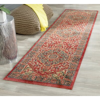 Donner Beige/Red Area Rug Rug Size: Runner 22 x 12
