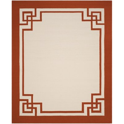 Ravenwood Hand-Hooked Off White/Sangria Indoor/Outdoor Area Rug Rug Size: 5 x 8