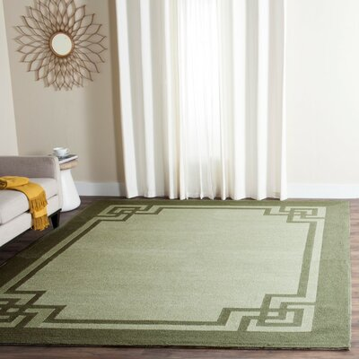 Rebersburg Hand-Hooked Moss/Dark Sage Indoor/Outdoor Area Rug Rug Size: Rectangle 9 x 12
