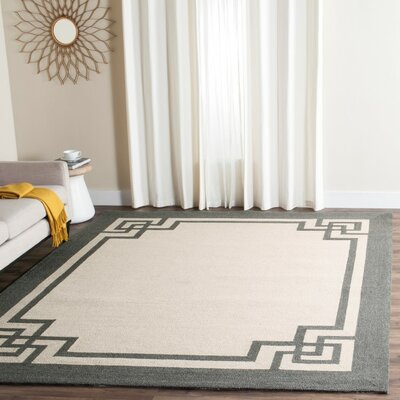 Reedsville Hand-Hooked Ivory/Charcoal Indoor/Outdoor Area Rug Rug Size: Rectangle 5 x 8