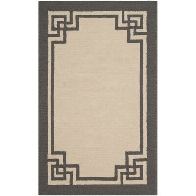 Weymouth Hand-Hooked Ivory/Charcoal Indoor/Outdoor Area Rug Rug Size: 4 x 6