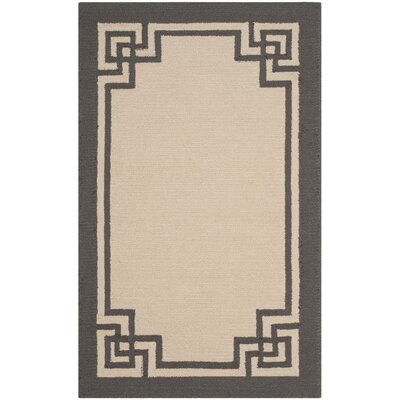 Reedsville Hand-Hooked Ivory/Charcoal Indoor/Outdoor Area Rug Rug Size: 9 x 12