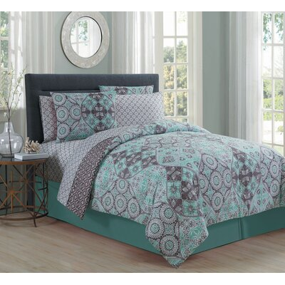 Mescalero 8 Piece Bed in a Bag Set Size: King, Color: Mint