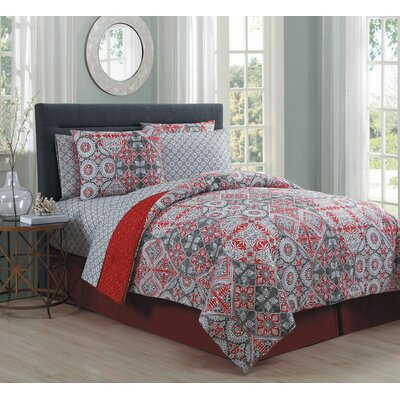 Mescalero 8 Piece Bed in a Bag Set Size: King, Color: Red
